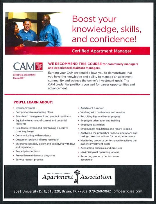 BCSAA - Certified Apartment Manager